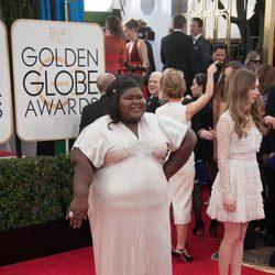 Gabourey Sidibe en la alfombra roja de los Globos de Oro 2014