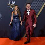 Leo Messi y Antonella Roccuzzo en la entrega del Balón de Oro 2013