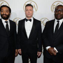 Chiwetel Ejiofor, Brad Pitt y Steve McQueen en la gala de entrega de los Producers Guild Awards 2014