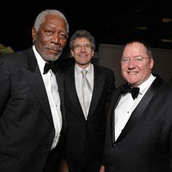 Morgan Freeman, Alan Horn y John Lasseter en la gala de entrega de los Producers Guild Awards 2014