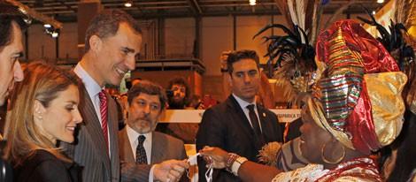 Los Príncipes de Asturias durante la inauguración de FITUR 2014