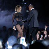 Beyoncé y Jay Z durante su actuación en los Grammy 2014