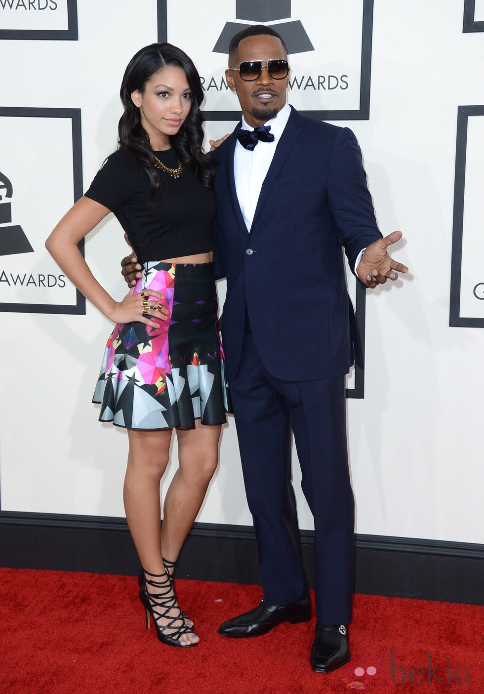 Jamie Foxx y su hija Corinne Bishop en los Grammy 2014
