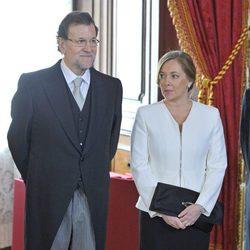 Mariano Rajoy y Elvira Fernández Balboa en la recepción al Cuerpo Diplomático 2014