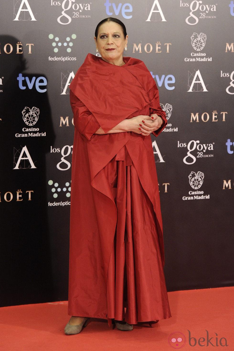 Terele Pávez en la alfombra roja de los Goya 2014