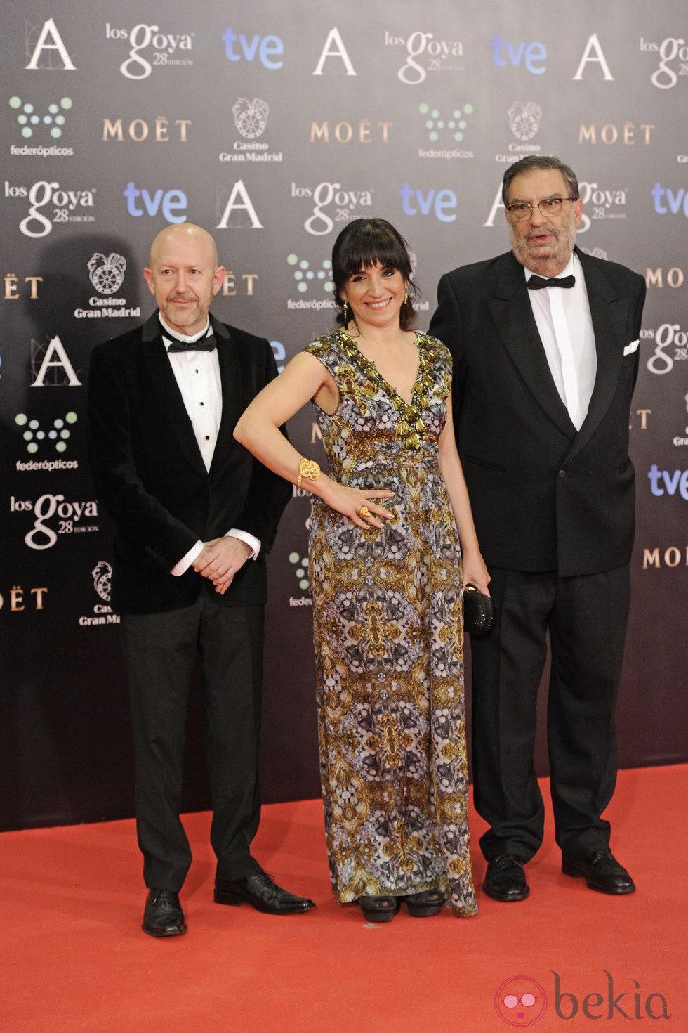 Emilio Pina, Judith Collel y Enrique González Macho en los Goya 2014
