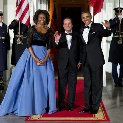 Barack y Michelle Obama con François Hollande en una cena de gala en la Casa Blanca