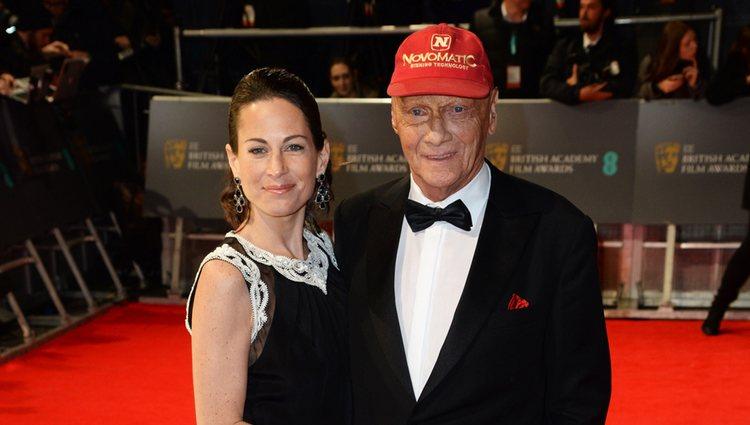 Niki Lauda en la alfombra roja de los BAFTA 2014