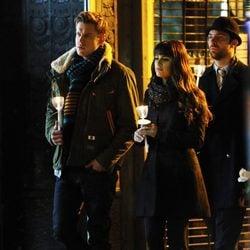 Lea Michele y Chord Overstreet en la grabación de 'Glee'