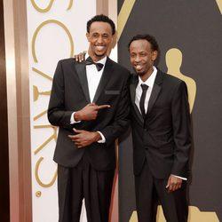Faysal Ahmed y Barkhad Abdi en la alfombra roja de los Oscar 2014