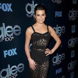 Lea Michele en la fiesta del episodio 100 de 'Glee'