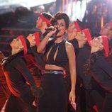 Edurne imitando a Alicia Keys en la primera gala de 'Tu cara me suena'
