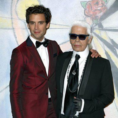 Mika y Karl Lagerfeld en el Baile de la Rosa de Mónaco 2014