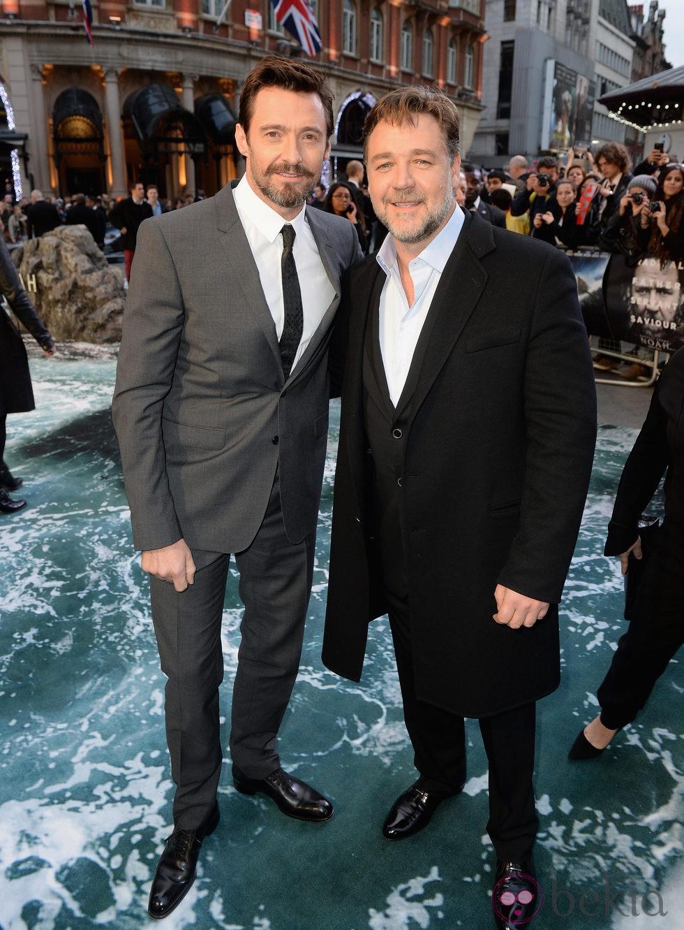 Hugh Jackman y Russell Crowe en el estreno de 'Noé' en Londres