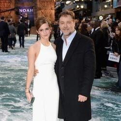 Emma Watson y Russell Crowe en el estreno de 'Noé' en Londres