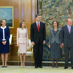 Los Reyes, los Príncipes Felipe y Letizia y la Infanta Elena en la entrega de la Gran Cruz del Mérito Deportivo