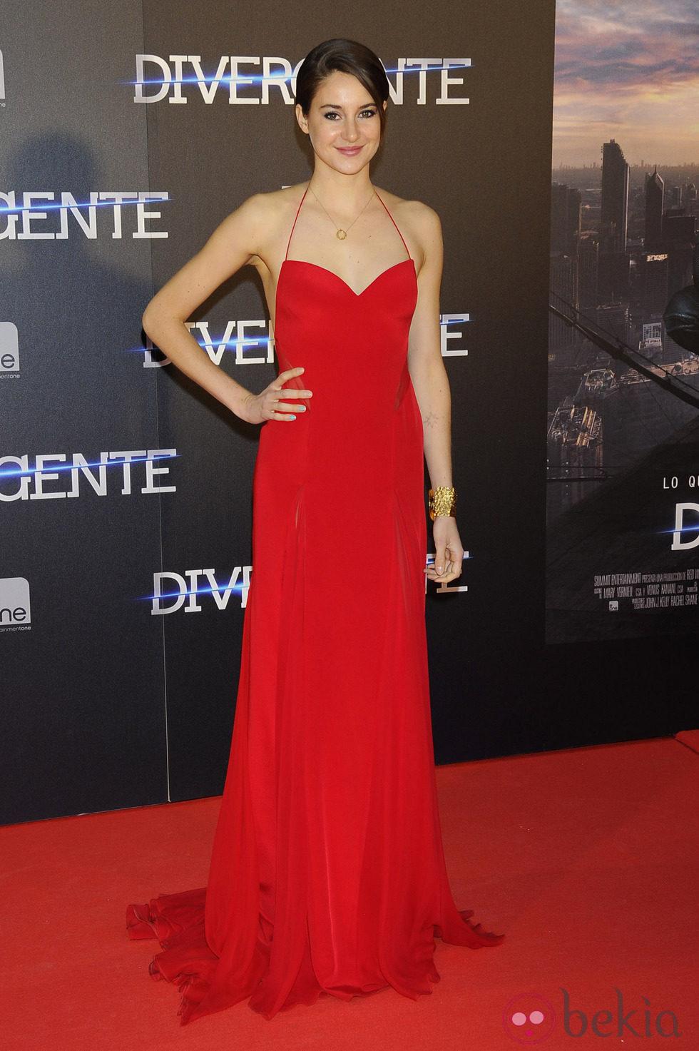 Shailene Woodley en el estreno de 'Divergente' en Madrid