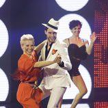 Soraya Arnelas y Miguel Herrera participando en 'A bailar!'