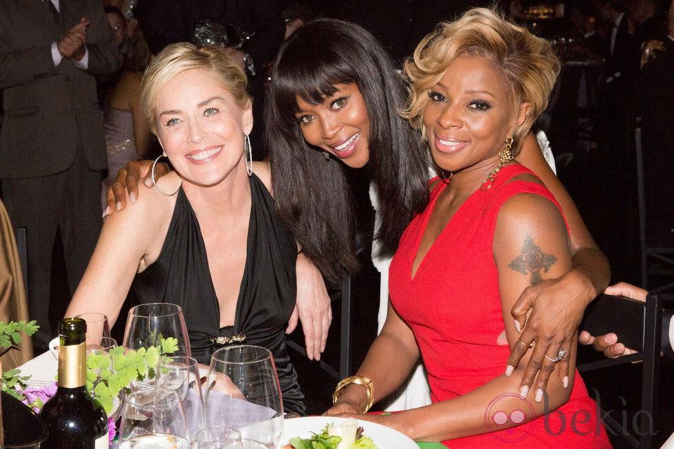 Sharon Stone, Naomi Campbell Y Mary J. BLige en la gala amFAR 2014 Sao Paulo