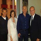 Antonio Banderas junto a Tony Blair y su esposa durante la Semana Santa de Málaga 2014