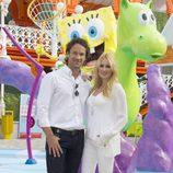 Carlos Moyá y Carolina Cerezuela en la inauguración del Nickelodeon Land del Parque de Atracciones de Madrid
