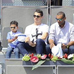 Cristiano Ronaldo y su hijo en el partido de Nadal en el Madrid Open 2014