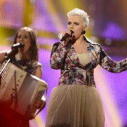Elaiza durante su actuación en el Festival de Eurovisión 2014