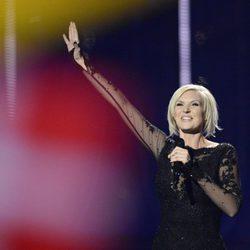 Sanna Nielsen durante su actuación en el Festival de Eurovisión 2014