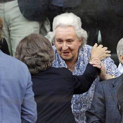 La Reina Sofía saluda a la Infanta Pilar en el Madrid Open 2014