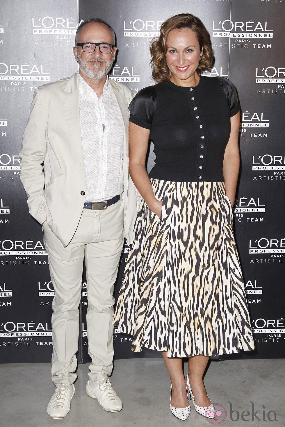 Ana Milán y Fernando Guillén Cuervo en una pasarela de belleza organizada por L'Oreal