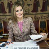 La Princesa Letizia durante su reunión en la sede de la OMS