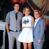 Liam Hemsworth, Jennifer Lawrence y Josh Hutcherson en Cannes 2014