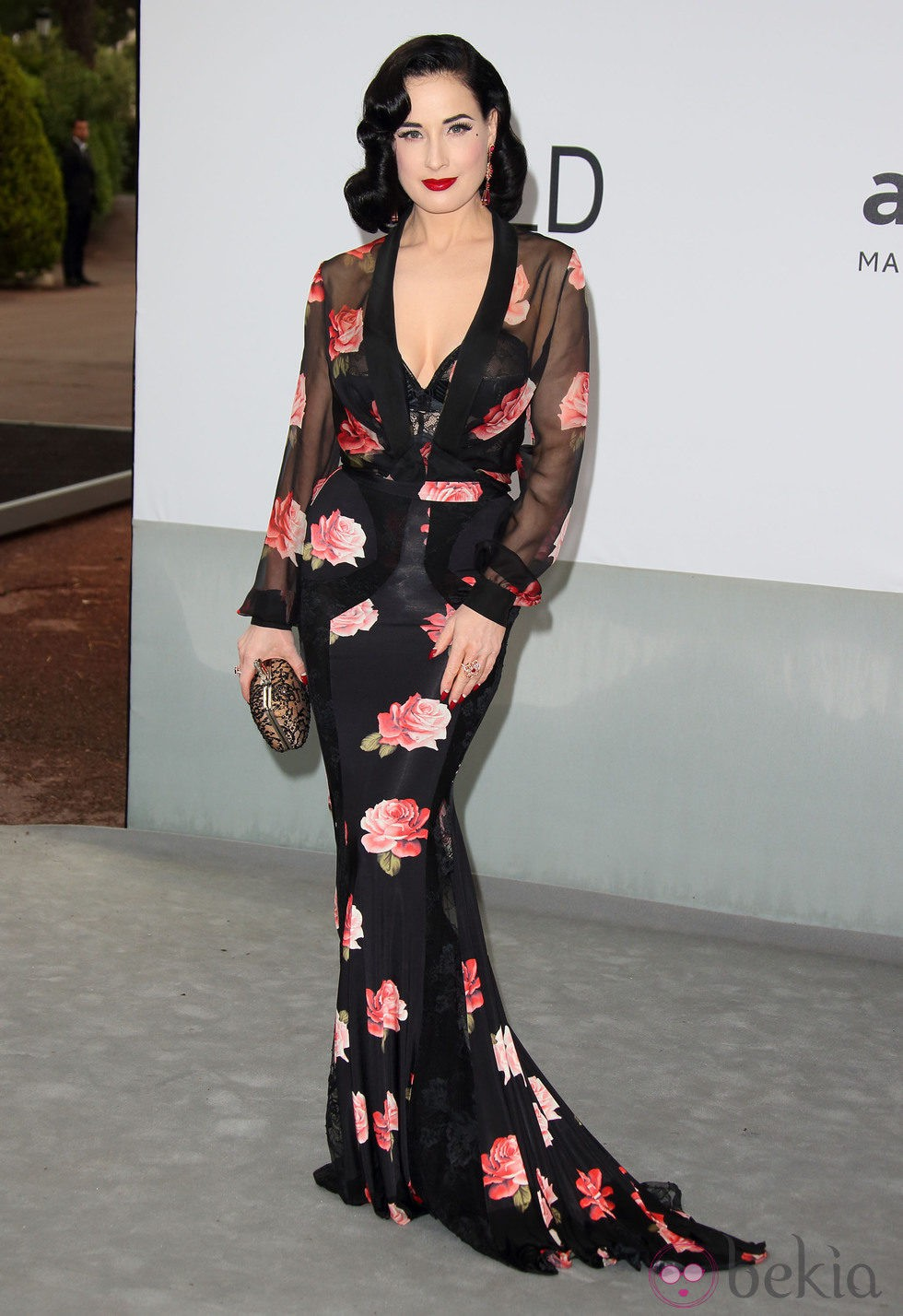Dita Von Teese en la gala amfAR del Festival de Cannes 2014