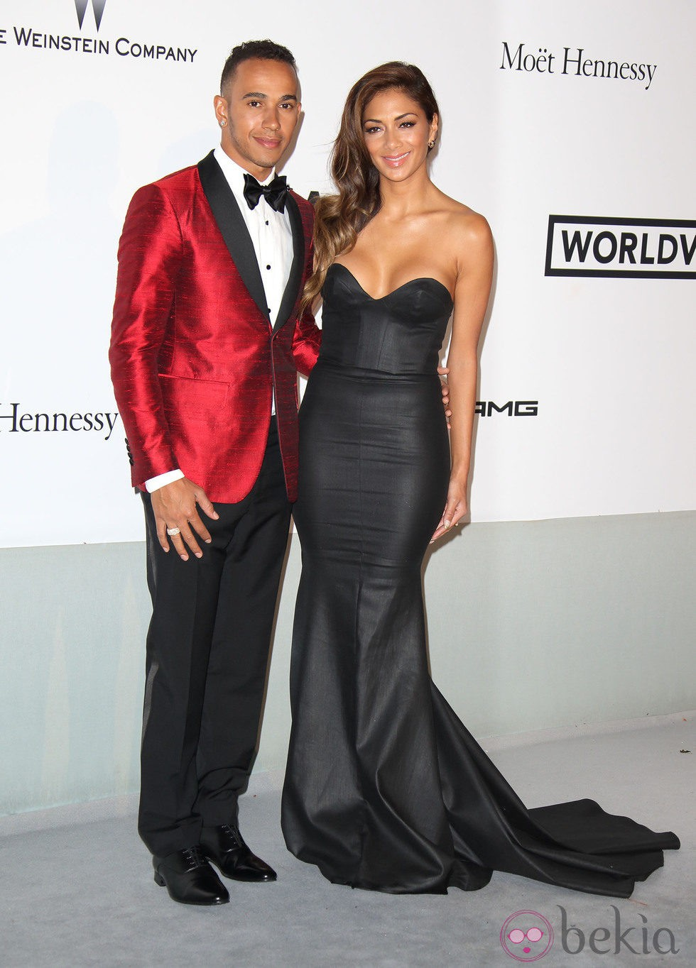 Lewis Hamilton y Nicole Scherzinger en la gala amfAR del Festival de Cannes 2014