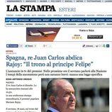 La abdicación del Rey en La Stampa