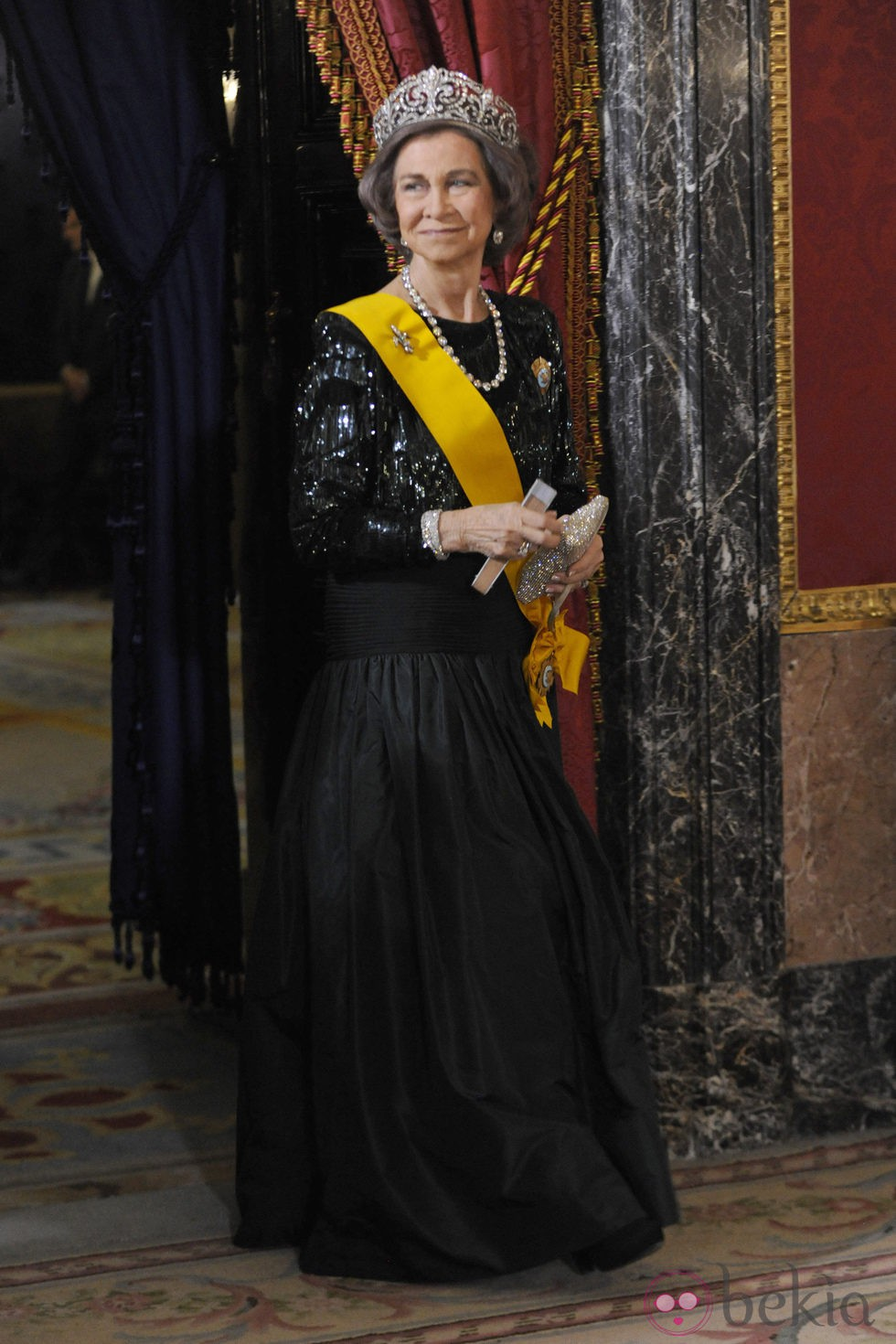 La Reina Sofía en la cena de gala al presidente de México y su esposa en el Palacio Real