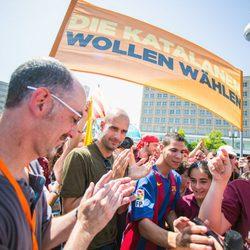 Pep Guardiola en un acto en Berlín en favor del derecho a decidir de Cataluña