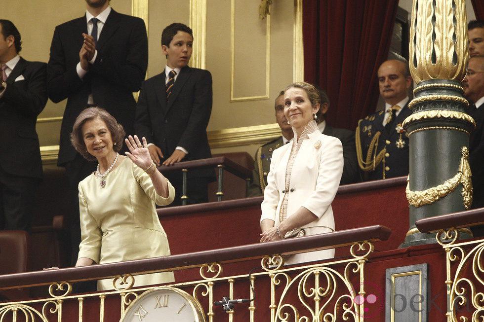 La Reina Sofía, la Infanta Elena y Felipe de Marichalar en la proclamación del Rey Felipe VI