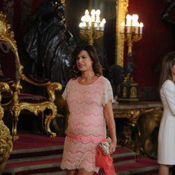 Raquel Perera en la primera recepción de los Reyes Felipe y Letizia