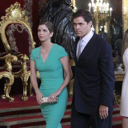 Luis Alfonso de Borbón y Margarita Vargas en la primera recepción de los Reyes Felipe y Letizia