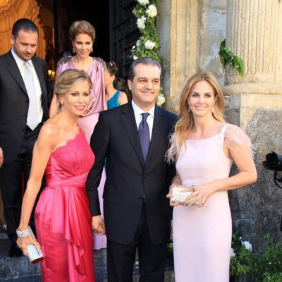 Genoveva Casanova, Ramón García y Patricia Cerezo en la boda de Verónica Cuevas y Manuel del Pino