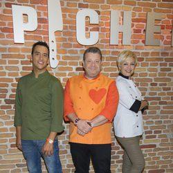Yayo Daporta, Alberto Chicote y Susi Díaz en la presentación de la segunda edición de 'Top Chef'