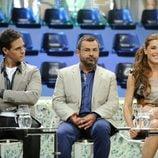 Christian Gálvez, Jorge Javier Vázquez y Raquel Sánchez Silva en la presentación de 'Acorralados'