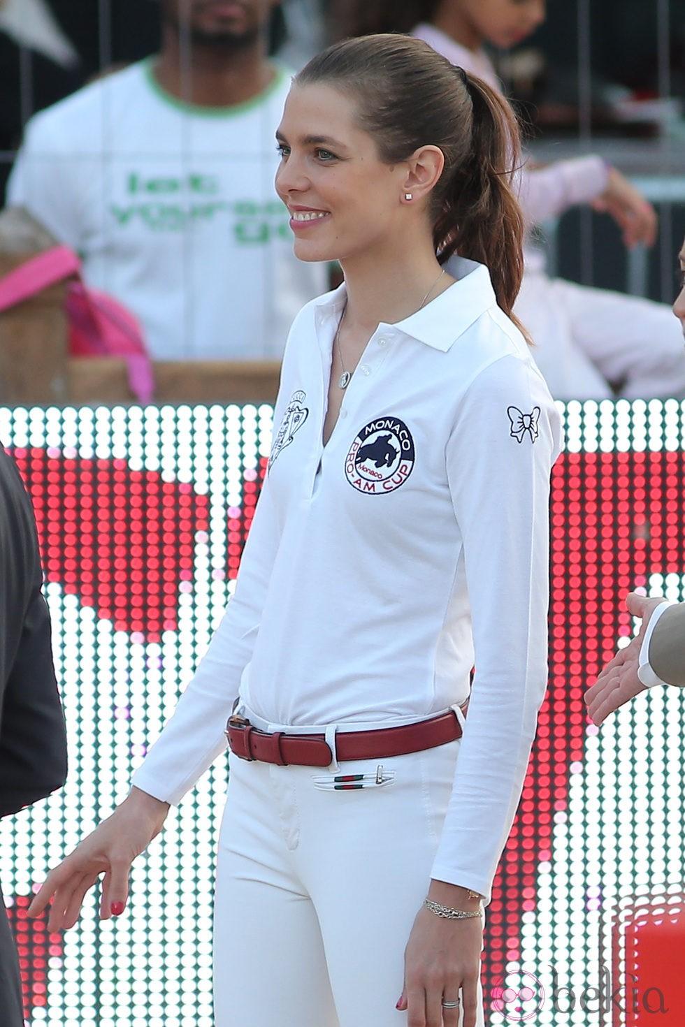 Carlota Casiraghi durante su participación en el campeonato de salto de Mónaco