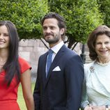 Carlos Felipe de Suecia y Sofia Hellqvist en el anuncio de su compromiso con la Reina Silvia