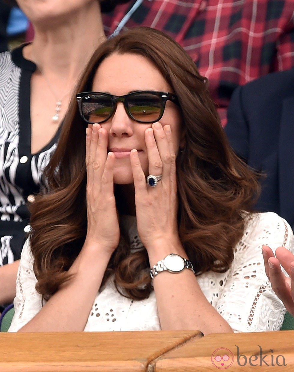 Kate Middleton se lleva las manos a la cara en el partido de Andy Murray en Wimbledon 2014