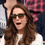Kate Middleton abre la boca angustiada en el partido de Andy Murray en Wimbledon 2014