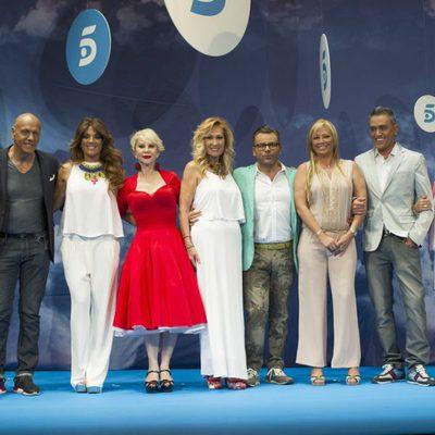 Presentadores y colaboradores en el V Aniversario de 'Sálvame'