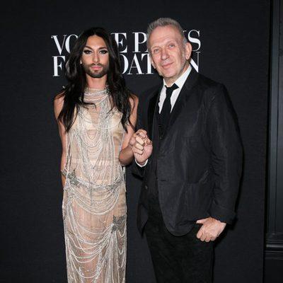 Jean Paul Gaultier y Conchita Wurst en la fiesta Vogue de la Semana de la Alta Costura de París otoño 2014