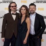 Matt Reeves, Keri Russell y Andy Serkis en el estreno de 'El amanecer del planeta de los simios' en Madrid